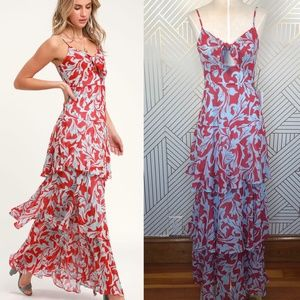 Lulu's Saturday Sunrise Floral Tiered Maxi Dress